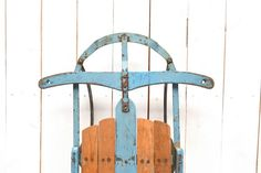 Antique Wooden Metal Sled Early 1900s Blue by StoryTellersVintage