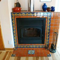 Tile For Fireplaces Mexican Style Tiles Designs Adobe Fireplace Hearth