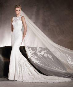 Alegría - Vestido de novia escote redondo, en crepe, encaje y pedrería