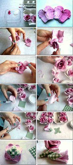 Fazer flores com caixas de ovos                                                                                                                                                     Mais