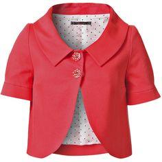 RAXEVSKY CARINE Coral Piqué Jacket ($120) ❤ liked on Polyvore