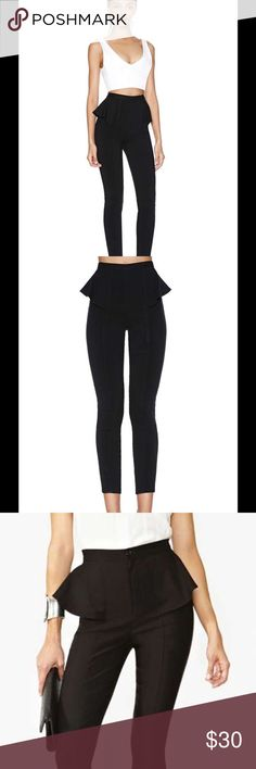 Nasty Gal Peplum Pants New without tags, Nasty Gal peplum pants, black, never worn, interesting, unique silhouette, would look great paired with a crop top. Nasty Gal Pants Skinny