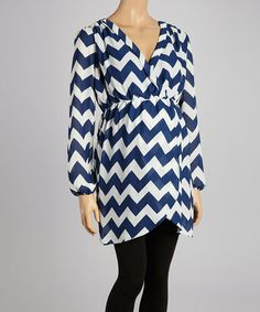 Take a look at this Navy Zigzag Maternity Tunic by Hot Mama Maternity on #zulily today!