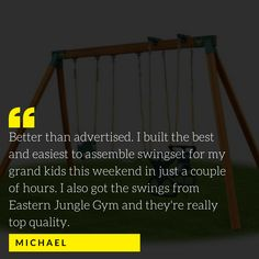 We want every child to have the backyard of their dreams, so we make sure to sell everything you need to enable your vision! Swing Set Hardware, Jungle Gym, Backyard, Child, Dreams, Things To Sell, Patio, Boys, Swings