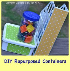 Do you find yourself looking for ways to organize and store odds and ends without spending extra cash on containers? Repurposed containers work beautifully