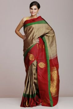 Grey Kanjeevaram Pure Silk Saree With Maroon Border And Pallu With Half-Fine Gold Zari