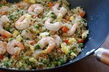 "Quinoa ""Fried Rice"" with Shrimp and Green Peas"