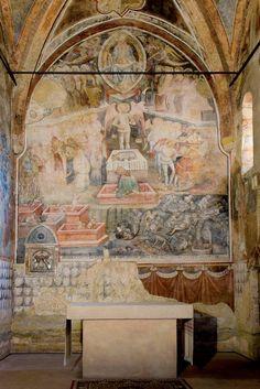 chiesa di san giorgio campochiesa - Albenga. Tra i vari cicli di affreschi[1] che adornano l'interno - i primi risalenti al XIII secolo - di pregio artistico è, nell'abside maggiore, l'affresco del Giudizio Universale del 1446. Il dipinto raffigura, nella sezione dell'Inferno, personaggi noti della Divina Commedia tra i quali Virgilio e lo stesso poeta Dante Alighieri, il Conte Ugolino e l'arcivescovo Ruggieri degli Ubaldini.