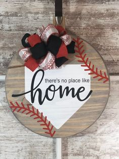 There's No Place Like Home Baseball Farmhouse Round Wooden Sign / Door Hanging Wooden Door Signs, Front Door Signs, Wooden Door Hangers, Diy Wood Signs, Front Door Decor, Porch Signs, Christmas Wood, Christmas Crafts, My Funny Valentine