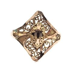 Vintage Indian Filigree Unisex Statement Ring in 17 ct Yellow Gold FREE POSTAGE Included by GloryBeVintageWares on Etsy