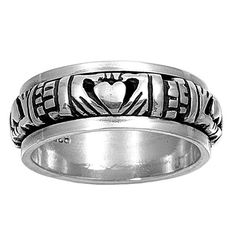 Handcast Silver Irish Claddagh Spin Spinner Ring Band Size 5-15 | museumreplicajewelry - Jewelry on ArtFire