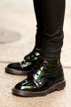 Spotted-On-The-Street Summer Accessories (iridescent Doc Martens) Dr. Martens, Sock Shoes, Shoe Boots, Looks Style, My Style, Fairytale Fashion, Cute Necklace, Summer Accessories, Star Fashion