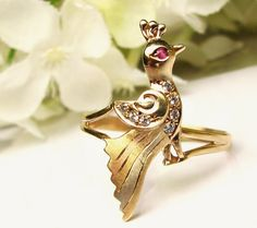Vintage Figural Bird Ring 14K Yellow Rose by LadyRoseVintageJewel