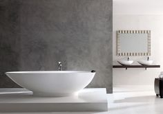 Victoria + Albert Napoli Bath and matching Napoli 57 basins. These versatile baths can be completely customised with paint and hydrographic printing finishes.