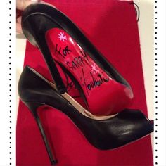 ❤️Signed pair of Christian Louboutins!❤️ ❤️I met Mr. Louboutin and he told me to never give up on anything you believe in! He quit high school and had terrible family problems; but look at him now-it was an honor to meet him. I can't bring myself to wear the heels- they are too precious to me!❤️ Not for sale, just sharing with my Poshinistas!!❤️ Christian Louboutin Shoes