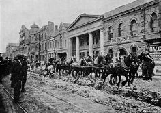 Breaking up Grenfell Street Adelaide - Preparing to Put Down the Rails - 1908