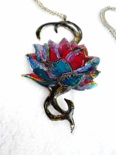 handmade Pendant  multi colored  Dahlia made of by violettstyle, €28.52