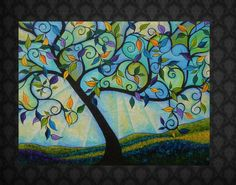"""Huge Abstract Tree Painting """" In Perfect Bloom"""" 30x40. $248.00, via Etsy."""