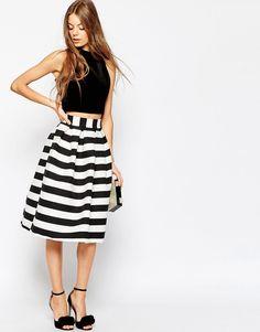 ASOS Midi Prom Skirt in Stripe