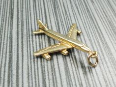 Vintage 14k Gold Airplane Charm 14k Yellow Gold by BelmarJewelers