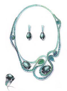 Tahitian baroque pearl & Tourmaline set/ water color and marker by WOOAKIM