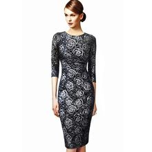 VfEmage Womens Elegant Floral Print Vintage Fitted Casual Stretch Formal Party Sheath Bodycon Pencil Dress 1789(China (Mainland))