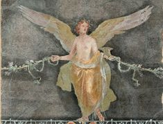"""didoofcarthage: """" Detail from wall fragment with winged female figure (Nike). Roman, from Boscoreale, Italy. Fresco, Tempera, Pompeii And Herculaneum, Getty Museum, Roman History, Mural Painting, Paintings, Roman Art, Ancient Artifacts"""