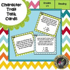 These character trait task cards making learning fun! Included are 24 task cards along with a student answer sheet and an answer key. Simply print, cut, laminate and you're ready to go.