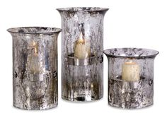"Mercury Candleholders - Set of 3 8.75-12-15""""h x 8.75""""d"