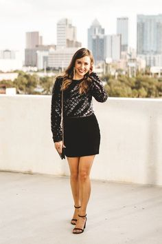 df7a9a47194 Wearing the cutest holiday outfit from - This velvet sequin crop top and  black velvet mini skirt make the perfect pair for holiday parties and New  Years Eve ...