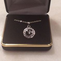 <p>Necklace+silver+chain+with+black+pendant+with+initial</p>