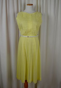 Rockabilly Dress, Swing Dress, Yellow Dress, Pleated Dress, Cotton, Sleeveless, 50s Dress, Dead Stock, Preppy Dress, Size Large by BuffaloGalVintage on Etsy