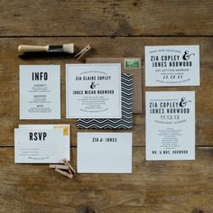An example of navy wedding invitations. I think I would stay away from doing the chevron but I like the idea of incorporating the navy stripe throughout your wedding (from save the date, to favors, to thank you cards...)  (Zia Suite | Val Marie Paper)