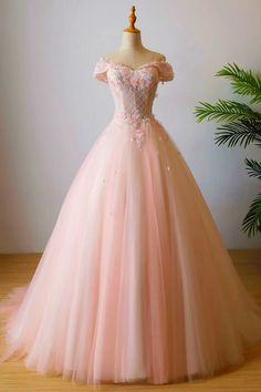 Buy Stunning Off the Shoulder Pink Ball Gown Quinceanera Dresses Tulle Flowers Prom Dresses online.Shop short long ombre prom, homecoming, bridesmaid evening dresses at Couture Candy Cocktail party dresses, formal ball gowns in ombre colors. Quince Dresses, Pink Prom Dresses, Sweet 16 Dresses, Pretty Dresses, Beautiful Dresses, Flower Girl Dresses, Wedding Dresses, Elegant Dresses, Sexy Dresses