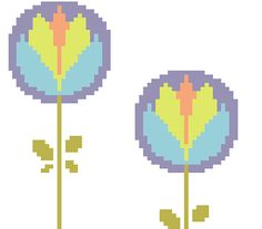 My daily listing on my Etsy shop: 70's style flower counted cross stitch pattern