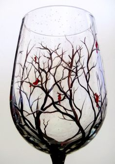 Cardinal Hand Painted Wine Glass Red Bird Winter Stemware Snowy Branches Tree Glassware Seasonal Christmas Holiday Kitchen Bar Decor Spirit Snuggle up next to the fire and warm up your winter with these seasonal Winter Wine Collection! Snow capped trees with birds nestled in the branches while snow falls all around the base. The glass shown is done with cardinals but feel free to switch it up and include your favorite bird. Just message me if you have a preference at check out. The pricing…