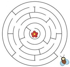 labyrint Mazes For Kids, Worksheets For Kids, Bee Stencil, Maze Worksheet, Paper Games, Learning Techniques, Fabric Stamping, Kindergarten Math Worksheets, Bee Theme