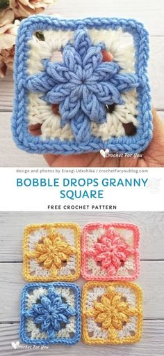 Bobble Drops Granny Square Free Crochet Pattern - sewing a blanket Crochet Motifs, Granny Square Crochet Pattern, Crochet Blocks, Afghan Crochet Patterns, Crochet Afghans, Crochet Stitches, Knit Crochet, Crochet Cushions, Crochet Pillow