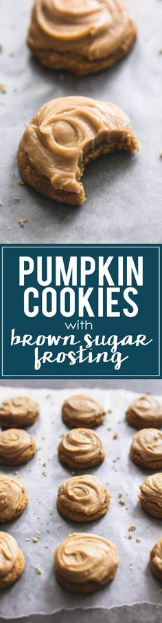 These super soft pumpkin cookies with brown sugar frosting will melt in your mouth. This easy recipe is a go-to fall baking staple for (Fall Bake Savory)
