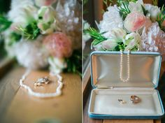 White Pearls and a Diamond ring Kansas Wedding Photographer. Emily J Photography. Emily Brensing Photography