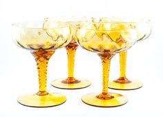 Empoli/Murano Amber Optic Glass Goblets. by AnneTweekes on Etsy