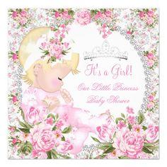 Princess Baby Shower Girl Vintage Rose Floral 3