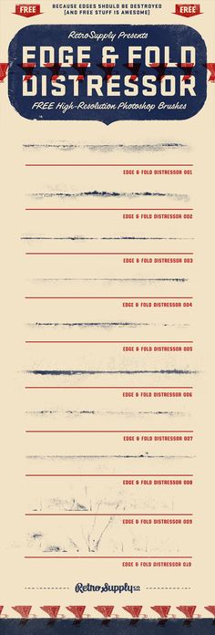 [Free] Edge & Fold Distressor Brushes Rough edges and broken ink fold brushes. Perfect for making your digital designs look like they've been aged and distressed in the real world.