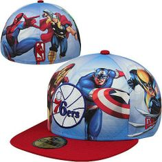 NBA New Era Philadelphia 76ers Marvel Comics 59FIFTY Fitted Hat by New Era. $34.95. New Era Philadelphia 76ers Marvel Comics 59FIFTY Fitted HatMade in ChinaAllover superhero pattern100% PolyesterFitted hatTeam logo patch on front and NBA Logoman® on backContrast brim and top buttonOfficially licensed100% PolyesterAllover superhero patternContrast brim and top buttonFitted hatMade in ChinaOfficially licensedTeam logo patch on front and NBA Logoman® on back