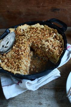 For pie crust: 1 heaping cup unbleached all purpose  1/2 teaspoon salt 6 Tbsp cold vegan butter 3-6 Tablespoons cold water For filling: 7 apples, cored, peeled, sliced scant 3/4 cup sugar 1 teaspoon cinnamon 1 Tbsp flour 1 Tbsp vegan butter For crumble topping: 1 cup rolled oats 1/2 cup almond meal 1/2 cup roughly chopped pecans or almond meal 1/3 cup packed light brown sugar pinch sea salt 4 Tbsp cold vegan butter, or sub olive oil INSTRUCTIONS 400 degrees. 35-45 min.