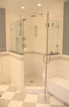 Standard corner shower, with custom tile and glass.  Nicely done.