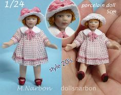1/24 porcelain doll little girl 2 inches by marianarbon on Etsy
