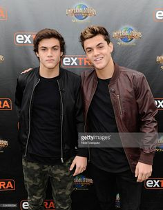 Grayson Dolan (R) and Ethan Dolan visit 'Extra' at Universal Studios Hollywood on May 25, 2016 in Universal City, California.