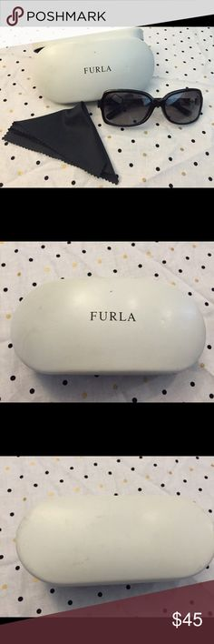 Furla Sunglasses with case Used. Some scratches on the lenses, one on the right lens near eye level. Does not impact vision though. Really a great deal! Furla Accessories Sunglasses