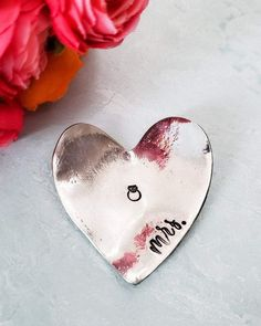 MRS Pewter Ring Holder - Hand Stamped Heart Shaped Trinket Dish - Engagement Ring Present - Anniversary Gift for Wife - Wedding Photography Dainty Jewelry, Cute Jewelry, Jewelry Gifts, Handmade Jewelry, Perfect Engagement Gifts, Engagement Ring, Heart Shaped Hands, Anniversary Gifts For Wife, Etsy Jewelry